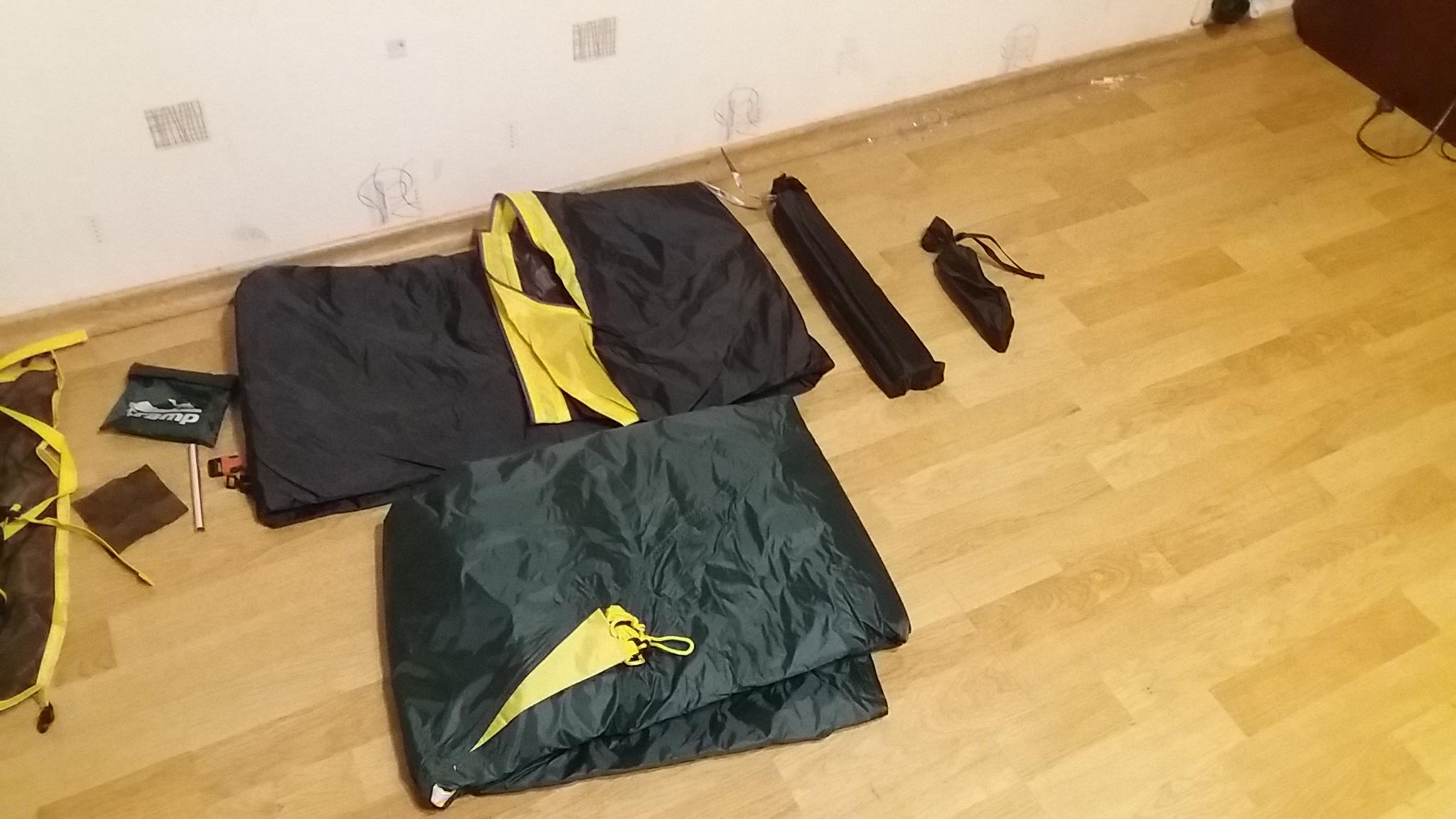 внутренняя палатка, внешний тент, дуги и колья